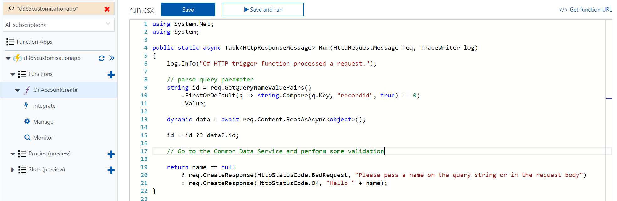 Dynamics 365 for Talent Azure Functions Integration